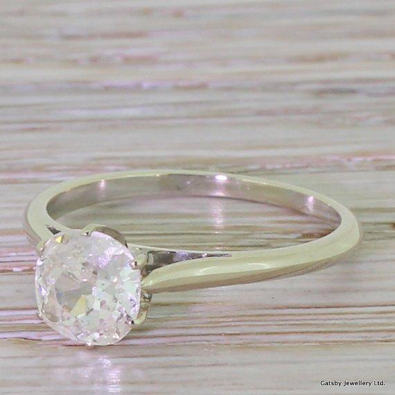 art deco 094 carat old cushion cut diamond engagement ring french circa 1935