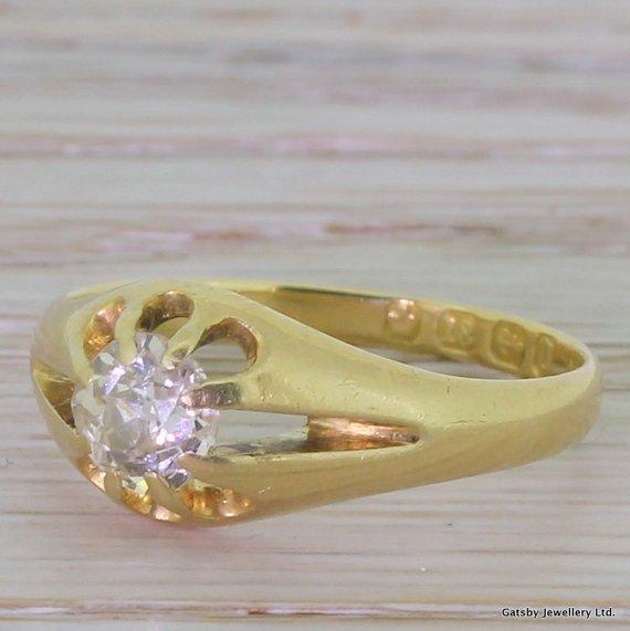 victorian 065 carat old cut diamond ring birmingham dated 1888
