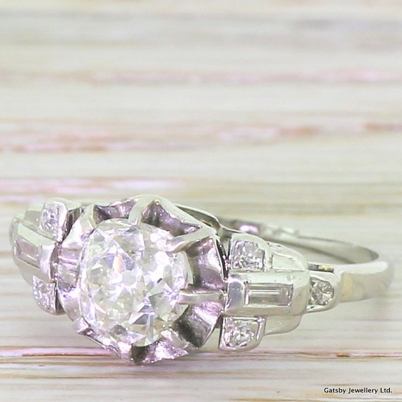 art deco 110 carat old cut diamond engagement ring circa 1935