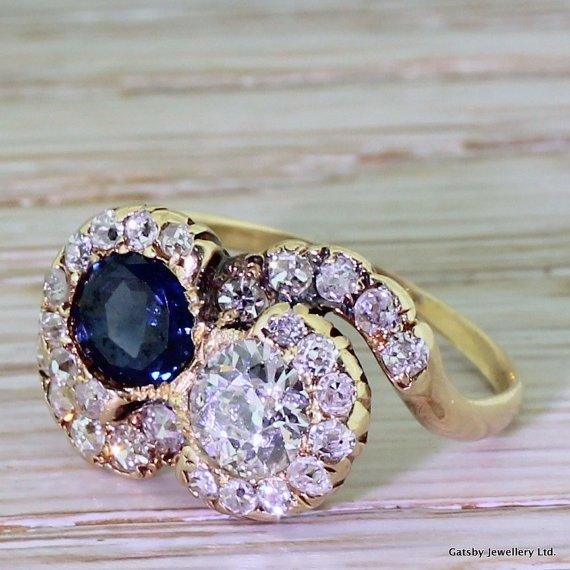 art deco old cut diamond 038 sapphire crossover cluster ring circa 1920