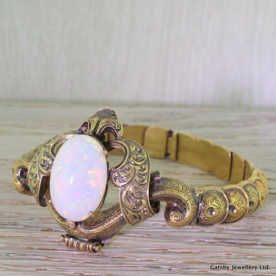 early victorian 1000 opal ornate filigree bracelet circa 1840