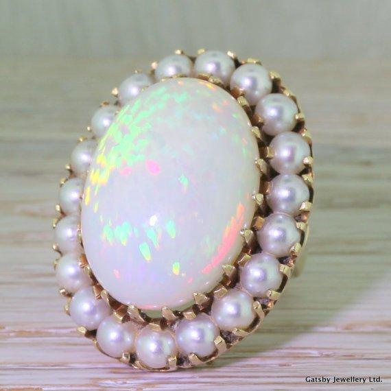 mid century 2500 carat opal 038 pearl ring circa 1965