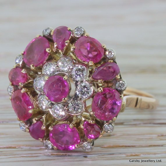 mid century 275 carat ruby 038 diamond cocktail ring 18k rose gold circa 1955