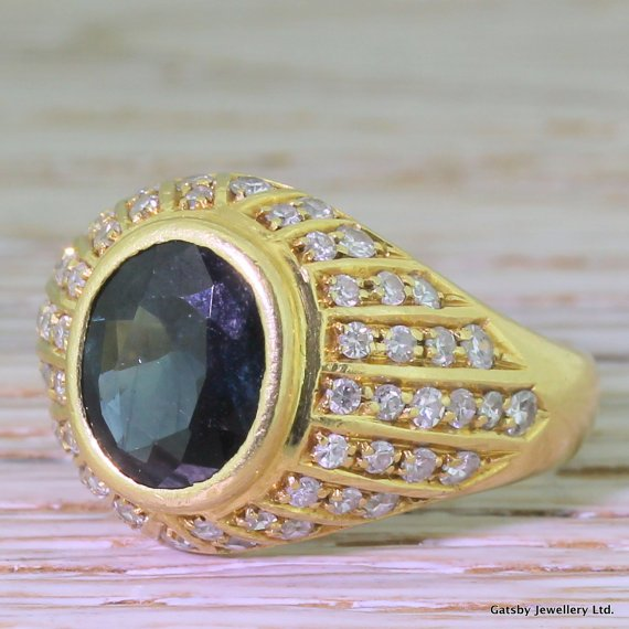 mid century 400 carat sapphire 038 115 carat diamond bombe ring circa 1960