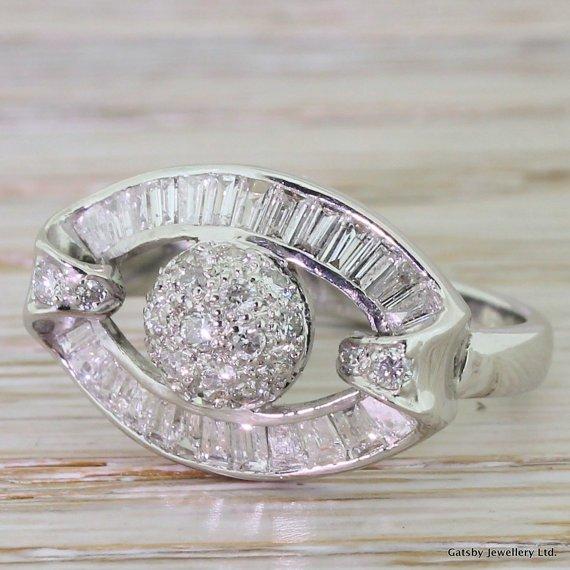 mid century 100 carat diamond disco ball ring circa 1970