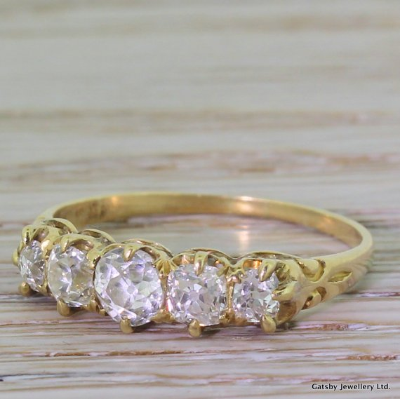 victorian 120 carat old cut diamond five stone ring circa 1900