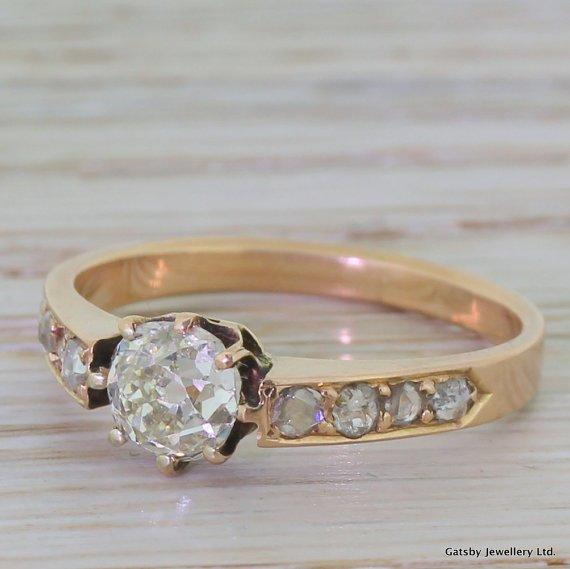 victorian 075 carat old cut diamond rose gold engagement ring circa 1900