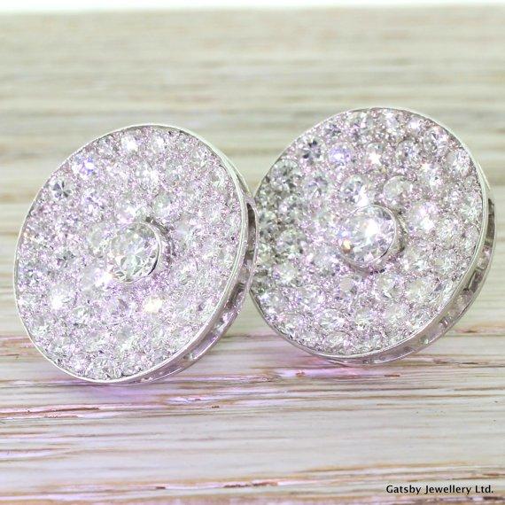 mid century 1007 carat transitional cut diamond cluster earrings circa 1950