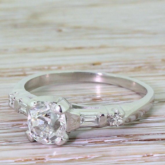art deco 097 carat old cut diamond engagement ring circa 1925