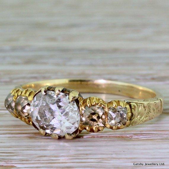 georgian 092 carat old oval cut diamond engagement ring 18k gold circa 1820