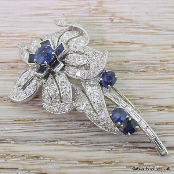 art deco 450 carat diamond 038 260 carat sapphire flower brooch platinum circa 1920