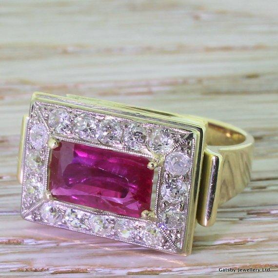 art deco 250 carat ruby 038 096 carat old cut diamond ring circa 1935