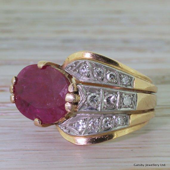 mid century 360 carat ruby 038 diamond coiled cobra ring 18k rose gold circa 1965