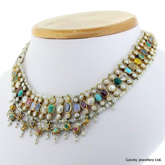 victorian natural pearl 038 multi gemstone three row chocker necklace circa 1900