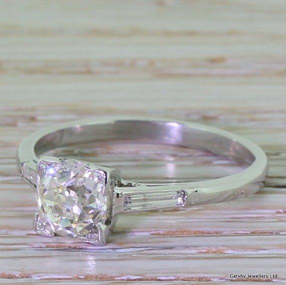 art deco 107 carat old cut diamond engagement ring platinum circa 1925