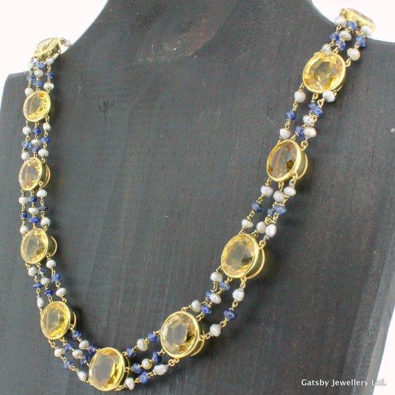 art deco citrine sapphire 038 pearl necklace circa 1930