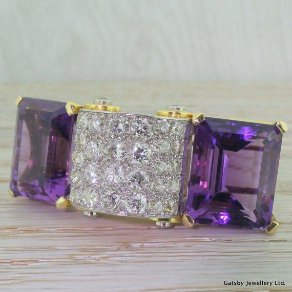 hennell 600 carat old cut diamond 038 amethyst barrette circa 1925