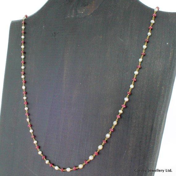 art deco ruby 038 natural pearl chain necklace circa 1920