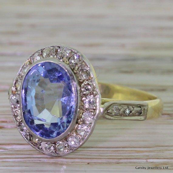 art deco 350 carat sapphire 038 065 carat old cut diamond ring circa 1930