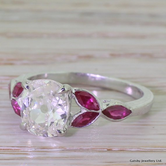 art deco 153 carat old cut diamond 8220ruby leaf8221 engagement ring circa 1925