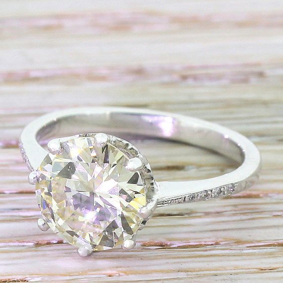 art deco 266 carat old european cut diamond engagement ring circa 1940