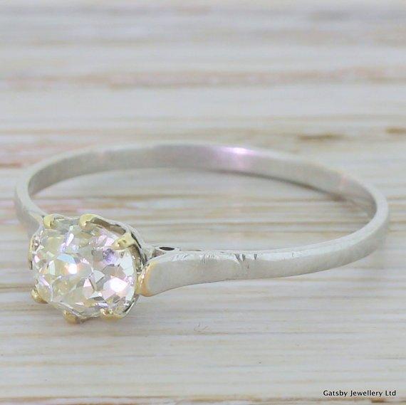 art deco 094 carat old cushion cut diamond engagement ring 18k gold french circa 1920