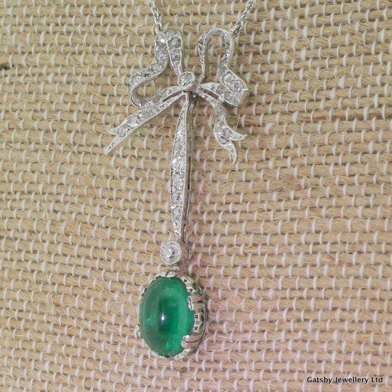 edwardian emerald 038 old cut diamond bow necklace platinum circa 1910