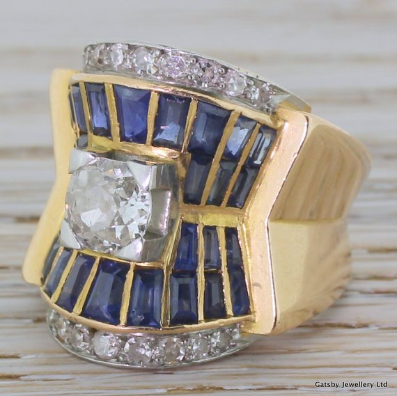 art deco old cut diamond 038 sapphire egyptian revival ring french circa 1925