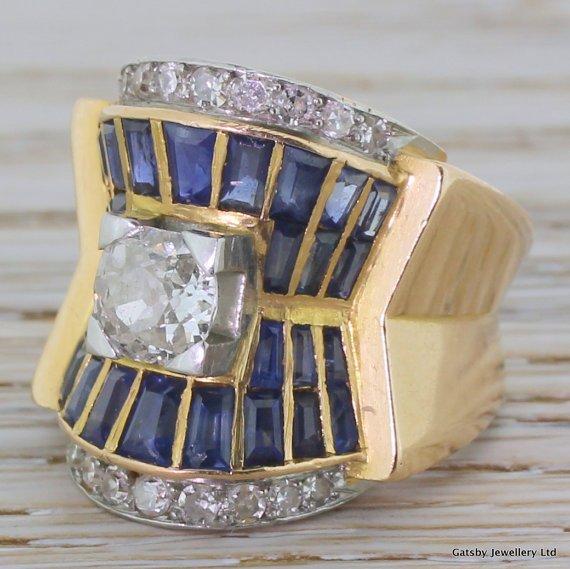 art deco old cut diamond 038 sapphire egyptian revival ring french circa 1925