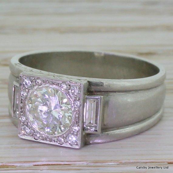 art deco 080 carat transitional cut diamond band ring platinum circa 1940