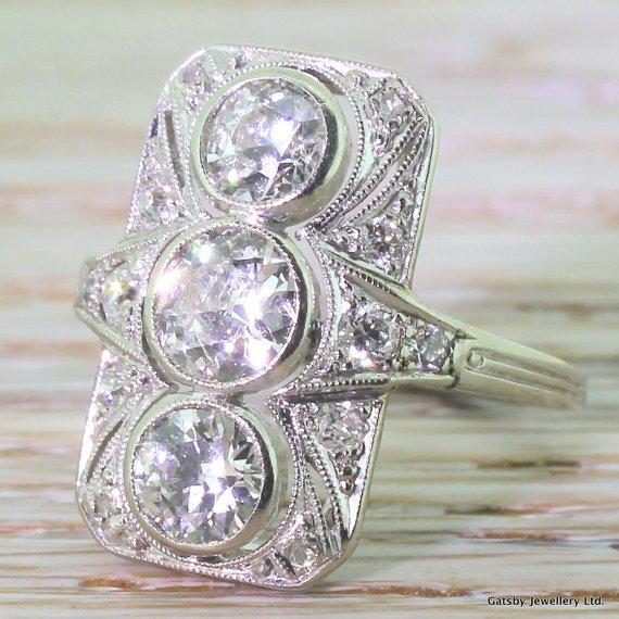 art deco 276 carat old cut diamond plaque ring circa 1935