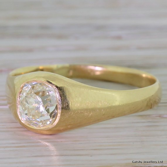 victorian 107 carat old mine cut diamond solitaire ring circa 1890