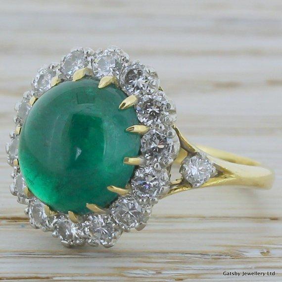 mid century 350 carat cabochon emerald 038 diamond ring 18k gold circa 1950