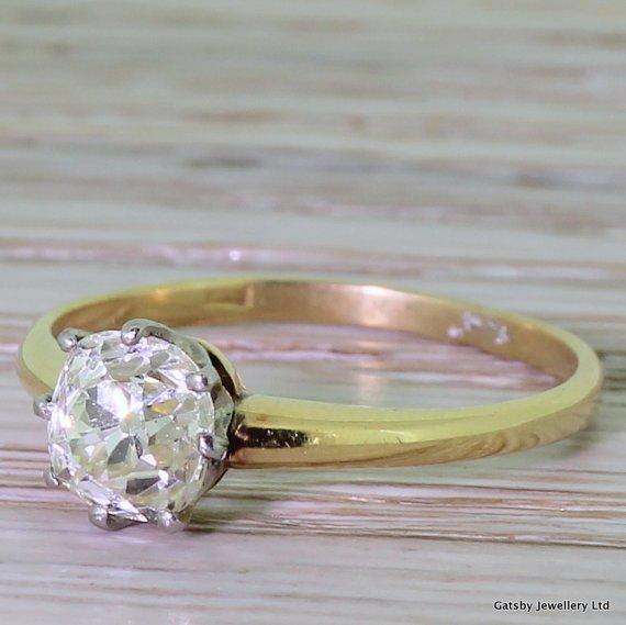 edwardian 107 carat diamond solitaire engagement ring circa 1905