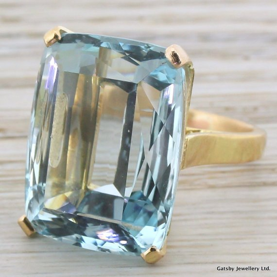 mid century 3200 carat aquamarine ring french circa 1960