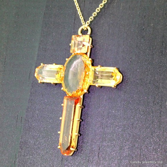 victorian 1500 carat imperial topaz crucifix pendant circa 1900