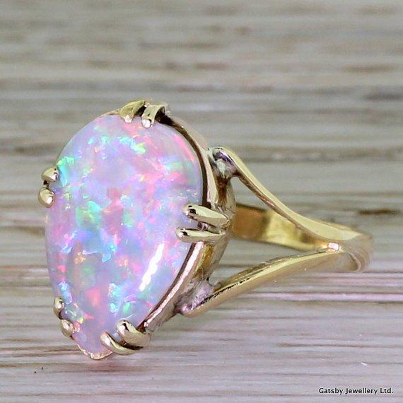 mid century 300 carat pear shaped opal ring circa 1950