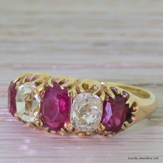 victorian 174 carat ruby 038 130 carat diamond five stone ring circa 1850