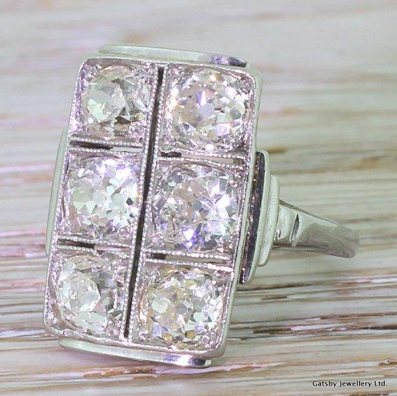 art deco 330 carat old cut diamond plaque ring circa 1930