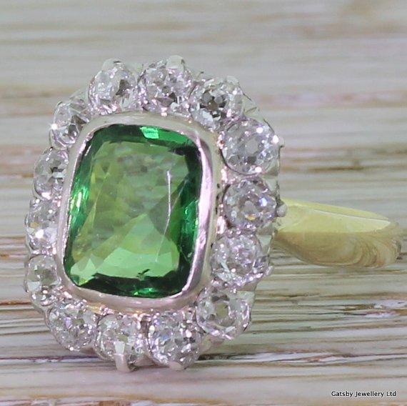 art deco 200 carat tsavorite 038 old cut diamond ring circa 1930