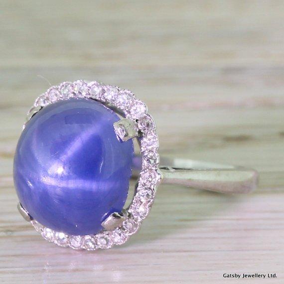 art deco 581 carat star sapphire 038 old cut diamond ring circa 1935