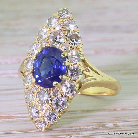 late 20th century sapphire 038 diamond navette cluster ring circa 1970