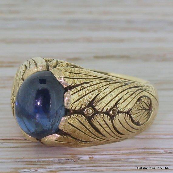victorian 603 carat cabochon sapphire foliate ring 18 circa 1900