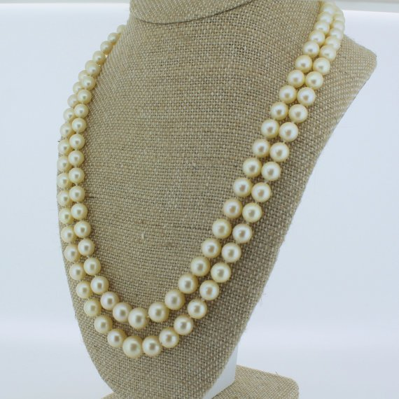 mid century double pearl necklace with ruby 038 diamond clasp circa 1950