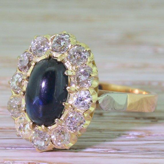 art deco 200 carat cabochon sapphire 038 diamond cluster ring french circa 1930