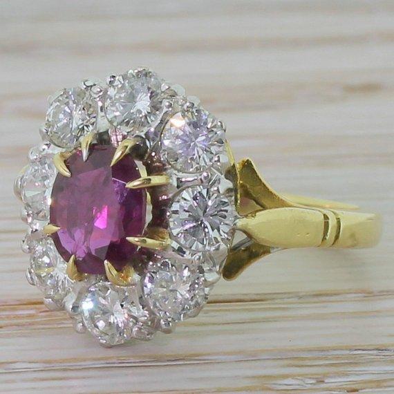 retro 150 carat ruby 038 diamond cluster ring 18k gold london dated 1975