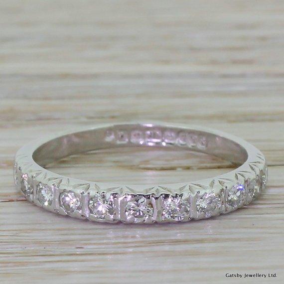 055 carat brilliant round cut diamond half eternity band ring 18k white gold