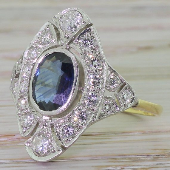 retro 150 carat sapphire 038 diamond shield ring 18k gold and platinum circa 1950