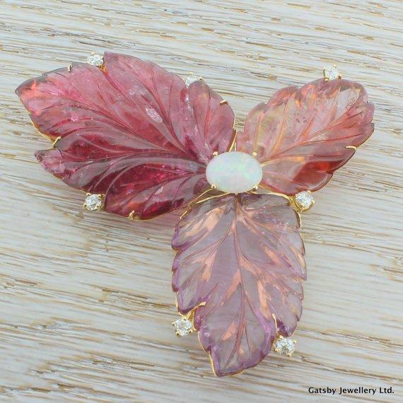 art deco 12500 carat tourmaline opal 038 diamond foliate brooch 18k gold circa 1940
