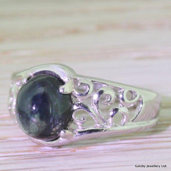 edwardian 250 carat cabochon sapphire platinum ring circa 1910
